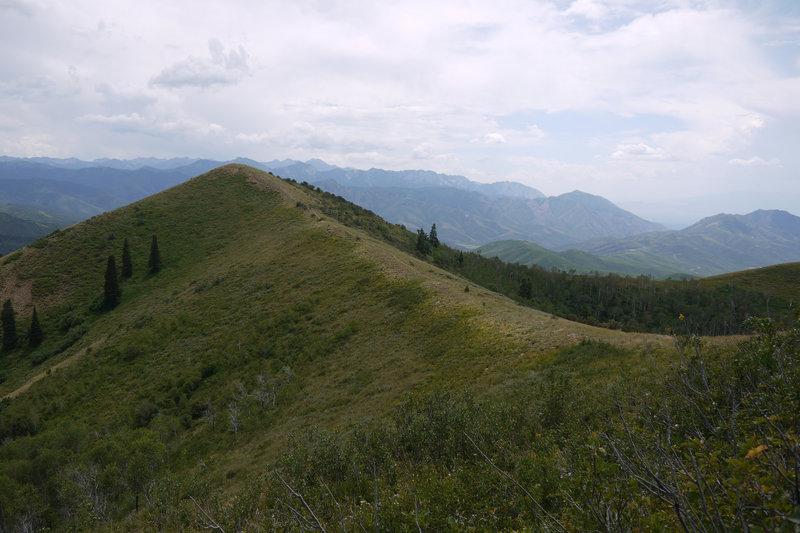 The Great Western Trail follows a ridgeline.