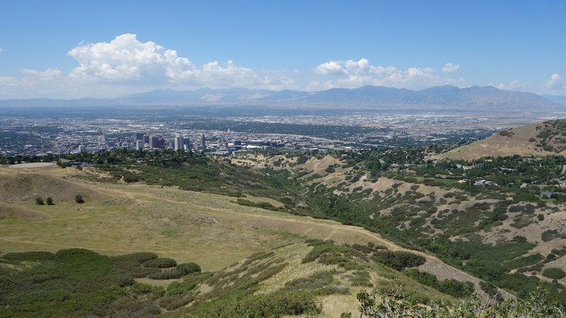 Downtown Salt Lake City and City Creek Canyon.