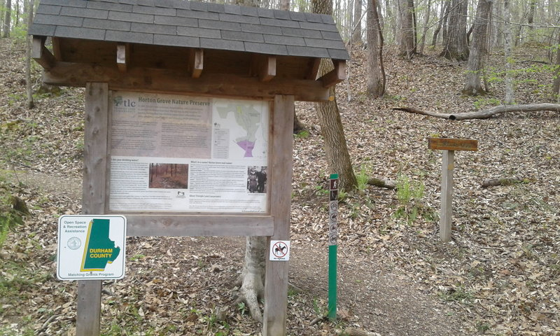 Picture of the Justice Loop Trailhead at the Horton Grove Nature Preserve.