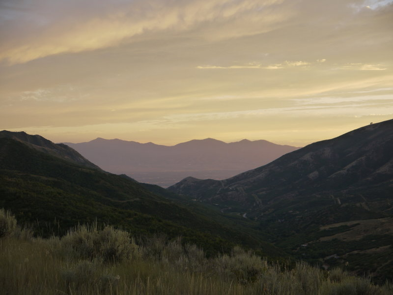 The sun sets over Emigration Canyon.