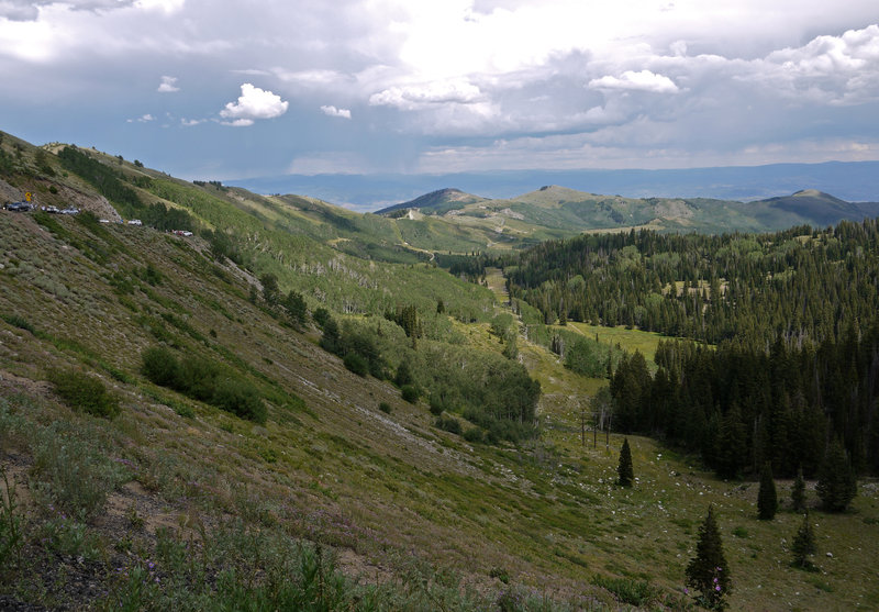 This is the view east of the valley below Guardsman Pass Road with Empire Bowl in the distant center.