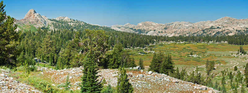 From Bond Pass toward Summit Meadow, enjoy pleasant valley views.