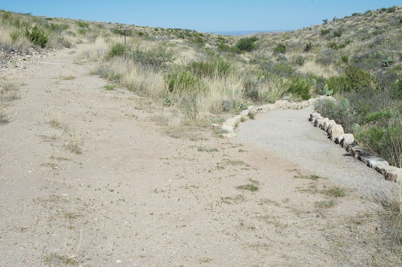 The Old Guano Road Trail continues straight ahead while the Chihuahuan Desert Nature Trail breaks off to the right.