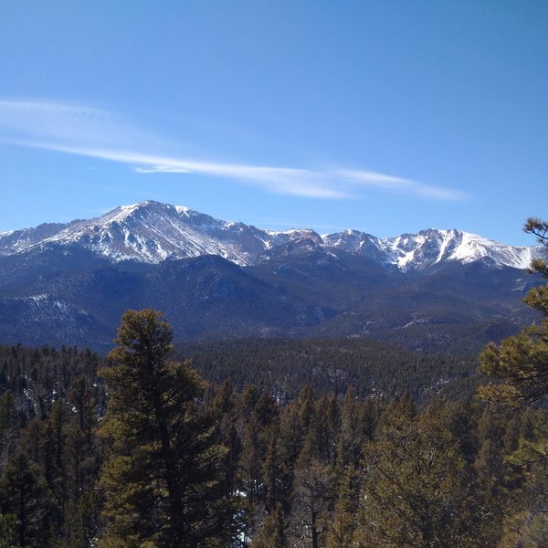 Enjoy an excellent view of Pikes Peak from the summit of Cascade Mountain.