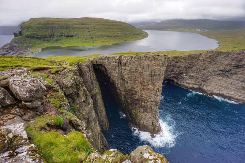 The view of Leitisvatn Lake from the southernmost cliffs of Vágar Island is unbelievable - you truly have to see it to believe it.