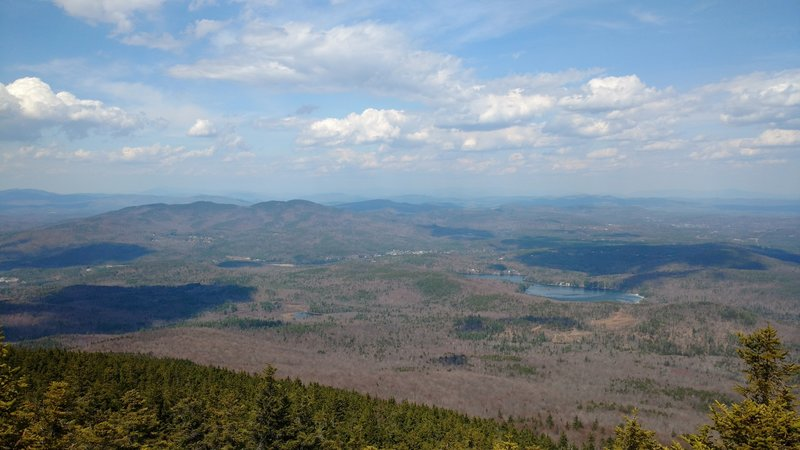 Springtime views are great from the Barlow Trail of Ragged Mountain and Bradley Lake. Proctor Academy is visible as well.