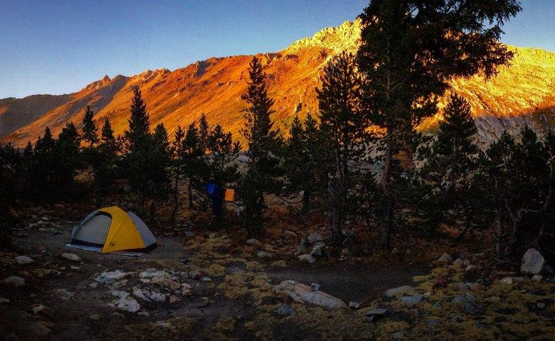 Camps at Spring Lake look toward Black Rock Pass.