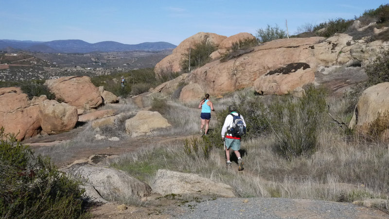 A trail runner and hiker make their way down the Mt. Gower Trail.