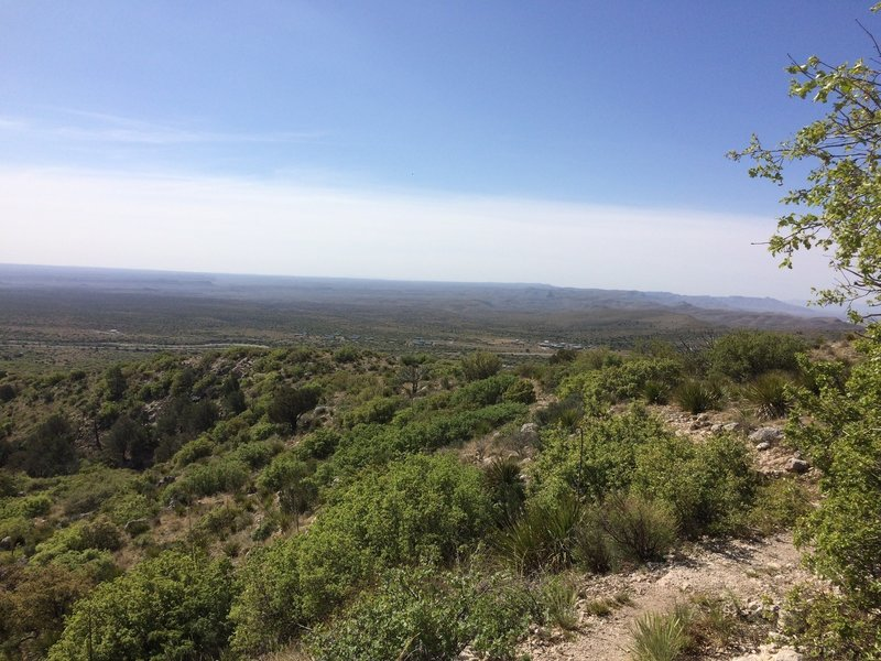 From the Frejole Trail, enjoy nice views looking out onto the highway that runs north and south near the Guadalupe Mountains.