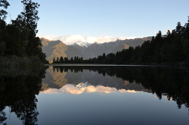 Lake Matheson, the Mirror Lake, is spectacular from the trail.