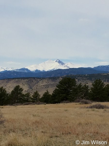 Long's Peak and Mt. Meeker command the skyline from Rabbit Mountain.