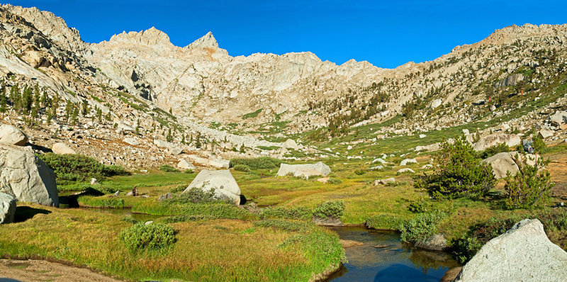 From the mid-point in Lost Canyon, looking towards Sawtooth Pk. with Sawtooth Pass a little to the right of it.