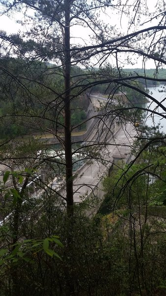 Enjoy an interesting view of Allatoona Dam from the Vineyard Mountain Eagle Scout Trail.