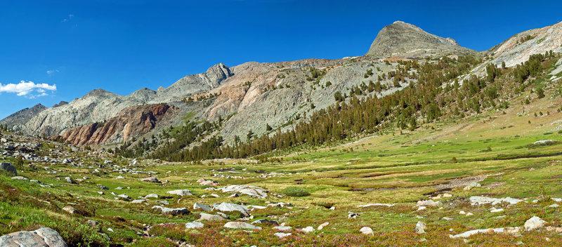 Open meadows below Martha Lake.