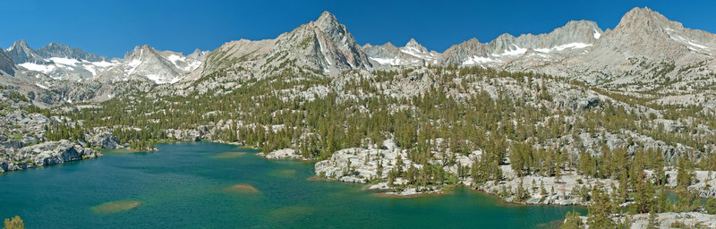 From up the rocks north of Blue Lake looking towards the main crest of Sierras.