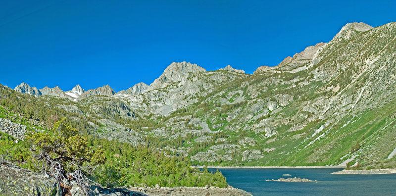 Looking south from Lake Sabrina towards Mt. Darwin and Mr. Haeckel.
