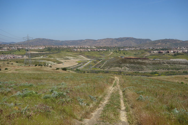 Development encroaches on the north end of the Lusardi Creek Loop Trail.