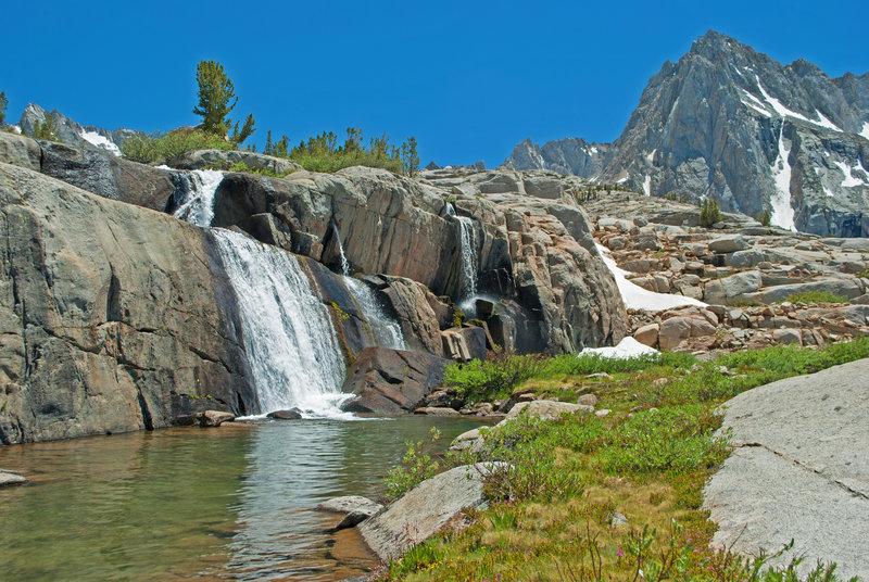 Falls cascade below Moonlight Lake.