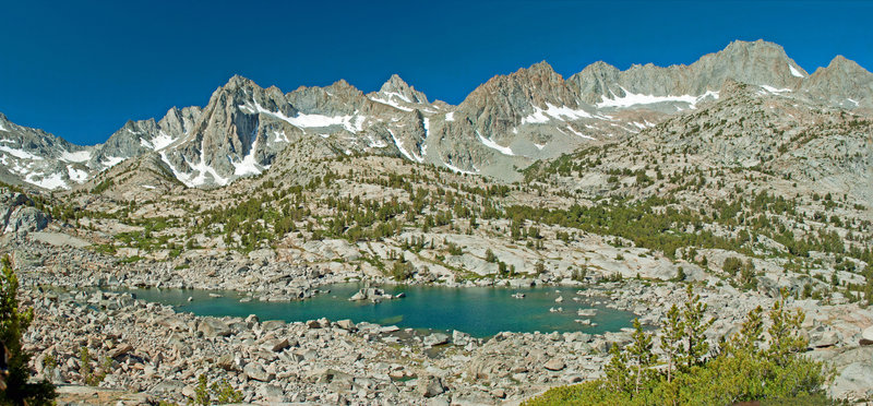Topsy Turvy Lake and the Sierra Crest. This is only about half of the full panorama.