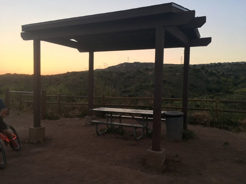 A covered picnic table about halfway up the trail.