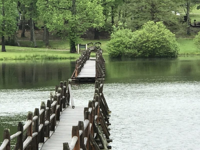 The closed footbridge across Lake Placid.