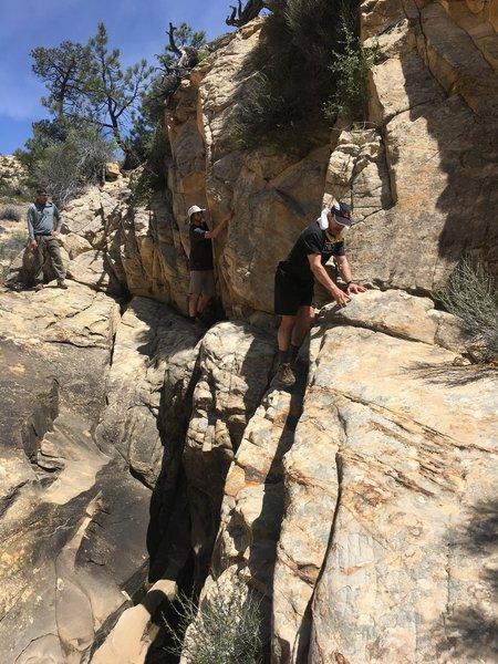 A precarious stretch of trail.