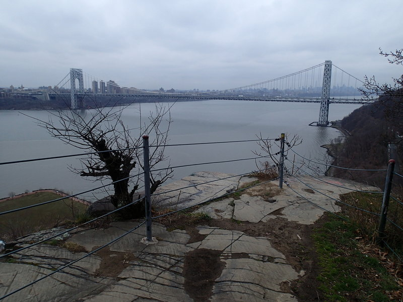 The view of George Washington Bridge from the Long Path Trail.