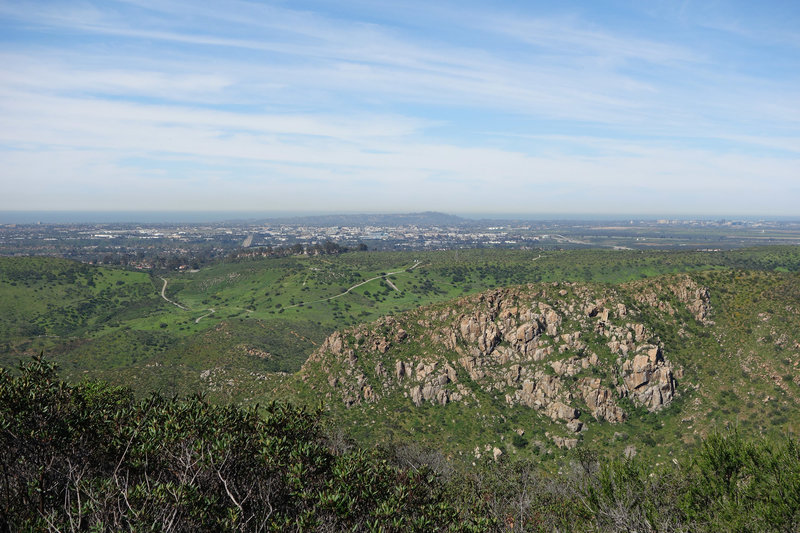 View west from near Kwaay Paay Peak at Mission Trails Park.