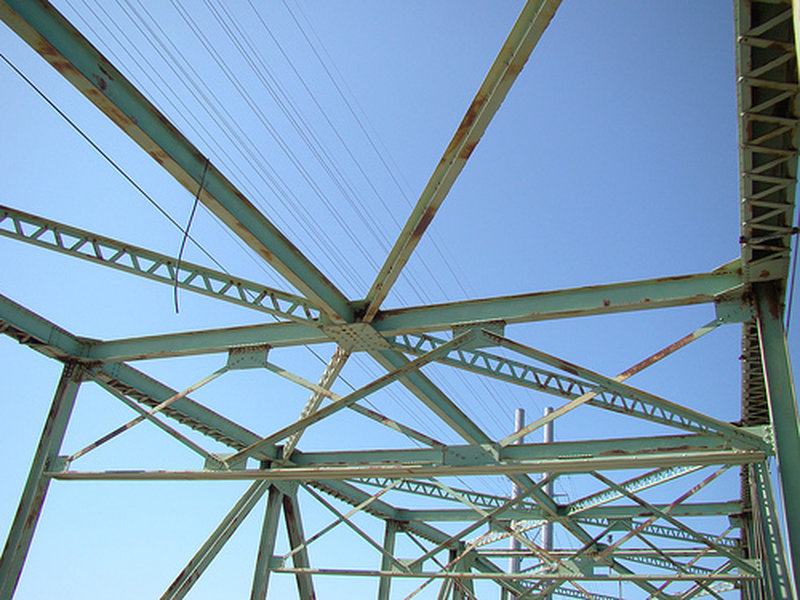Trusses on the old Surf City swing bridge as you cross onto Topsail Island in Surf City, NC.