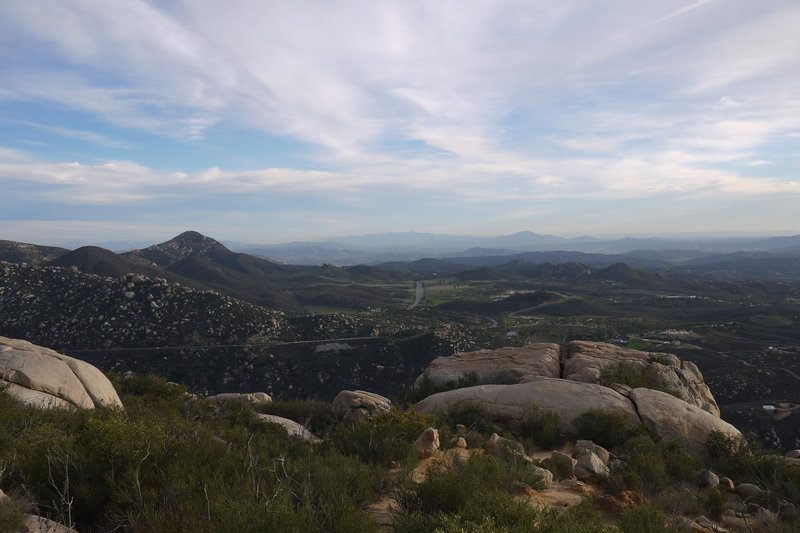 View south from the Mt. Woodson Trail in the spring.