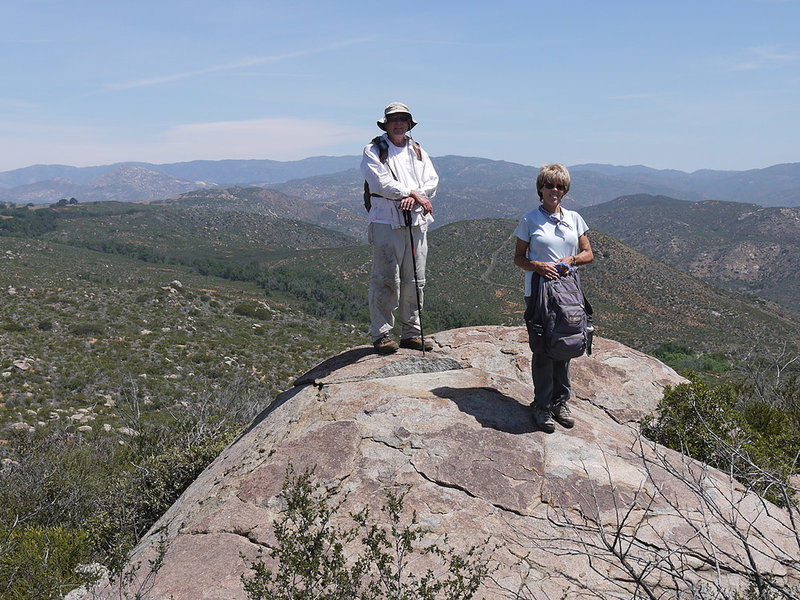 Two hikers at San Pasqual spot elevation 1937.