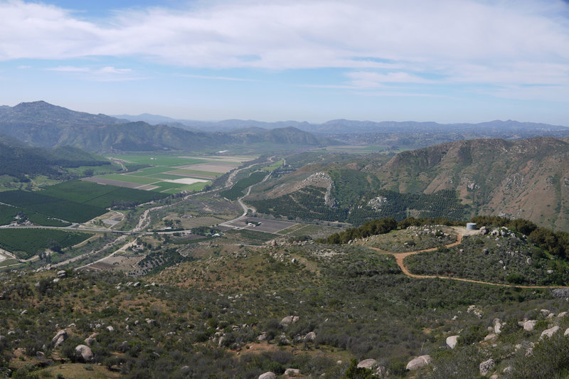 San Pasqual Valley, Highway 78, and Rockwood Canyon (right) seen from spot elevation 1762.