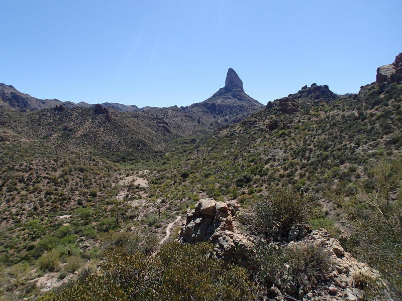 The backside of Weavers Needle can be seen from the Peralta Canyon Trail.