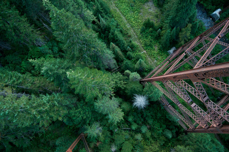It's a long way down if you look over the side of the trestle.