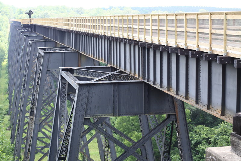 A side view of the High Bridge at High Bridge Trail State Park.