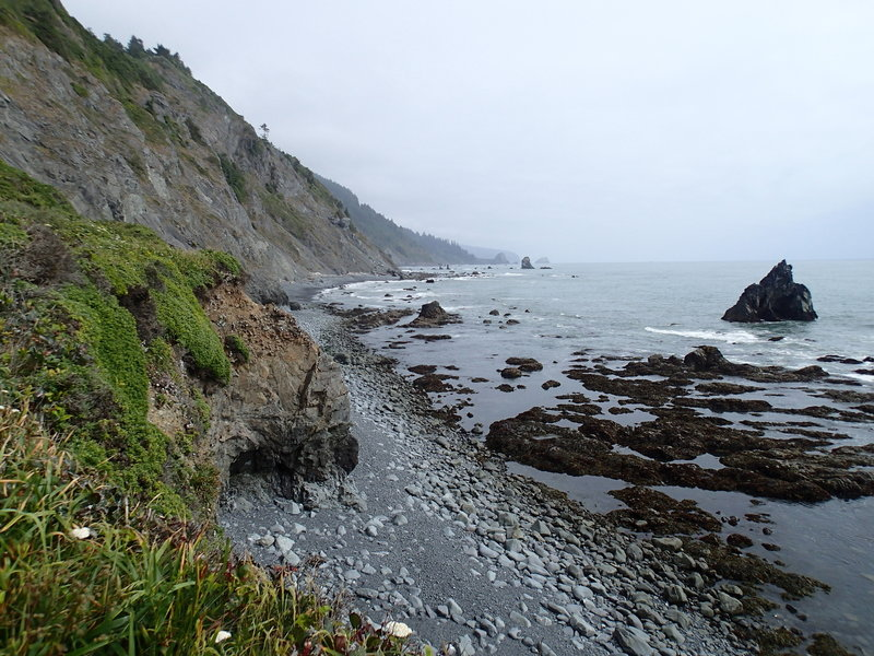 The Damnation Creek Trail ends into these incredible views from the beach.