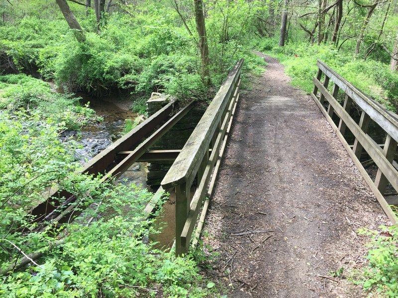 An old bridge crossing the creek.
