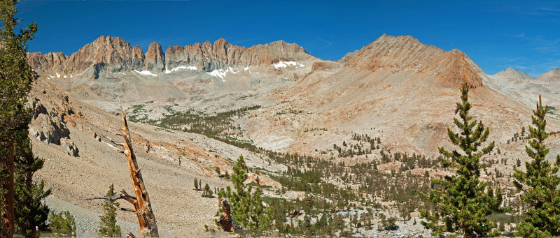 This is Kaweah Basin as seen from the south end of Red Spur Lakes Plateau. Picket Creek Basin can be seen on the extreme right.