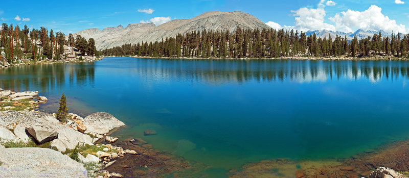 This is a view of the first large Red Spur Lake, looking toward the Kern Point and Mt. Tyndell portion of the Sierra Crest.