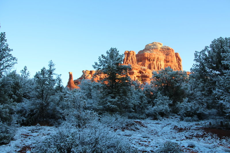 Boynton Spire can be seen departing in the distance from the Boynton Canyon Trail.