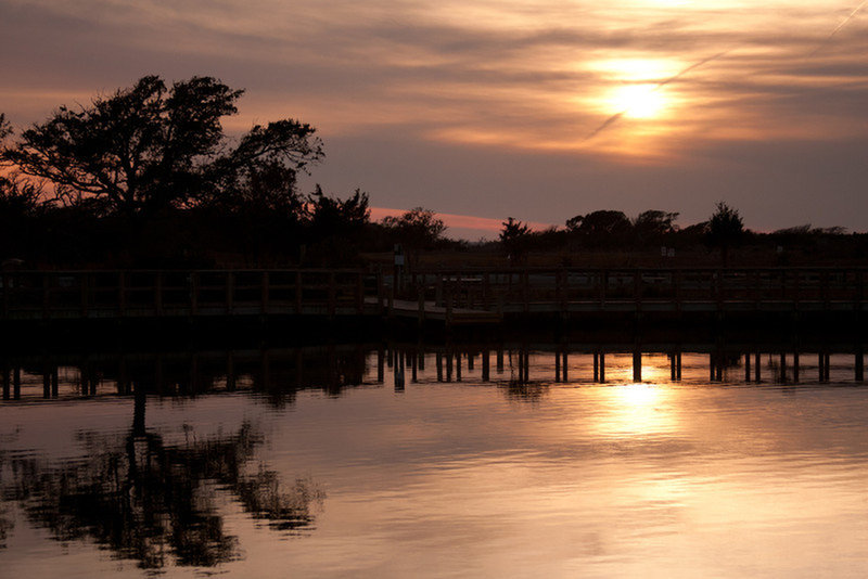 Soundside Park Boardwalk is beautiful to experience at sunset.