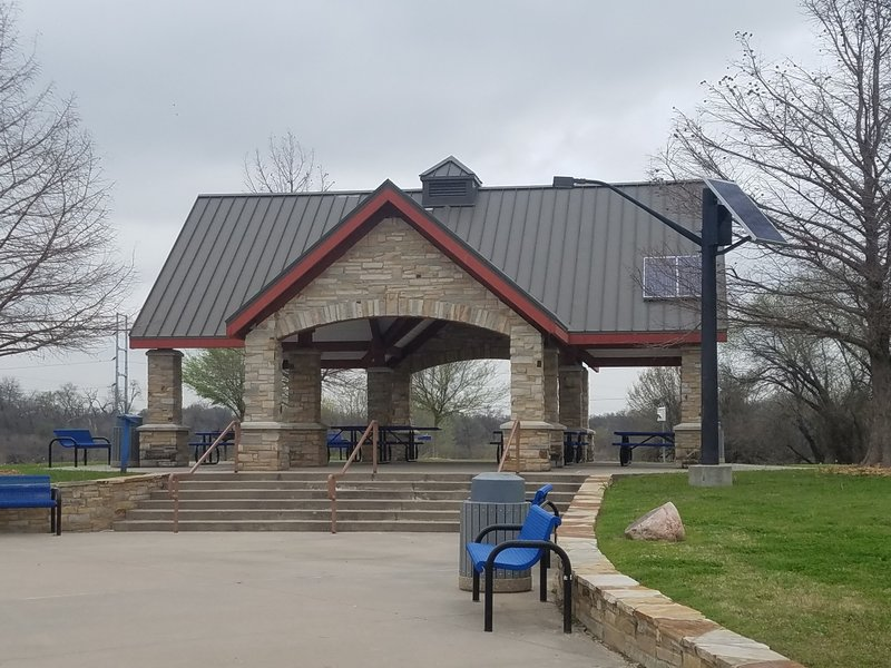 The main pavilion provides picnic space and shade at the parking area off Riverside Drive at Bird's Fort Trail Park. This is a great place to have lunch!