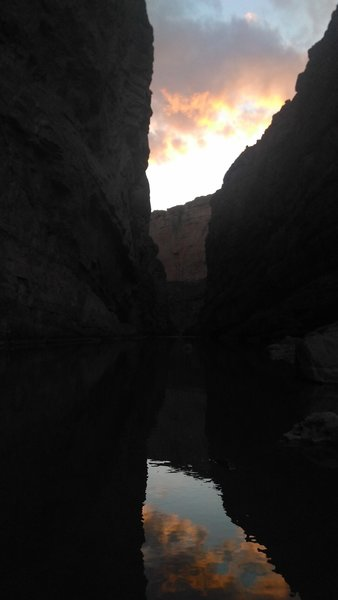 Look toward Mexico through the canyon at sunset.