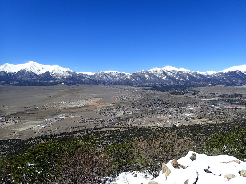 Mt. Princeton and Mt. Yale can be seen from the top of Midland Hill.