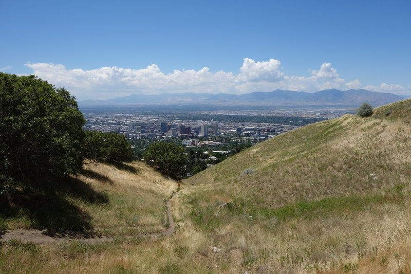 Downtown Salt Lake City seen from the Bonneville Shoreline Trail just above East Edgehill Road.
