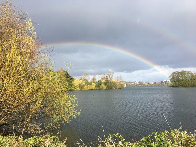 A double rainbow over Green Lake's Duck Island.