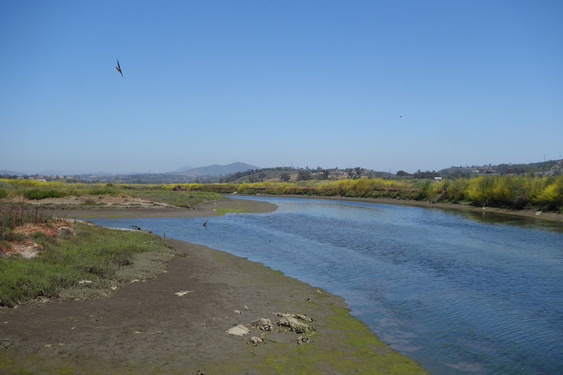 San Dieguito River flowing through he San Dieguito Lagoon with Black Mountain visible 7 miles away.