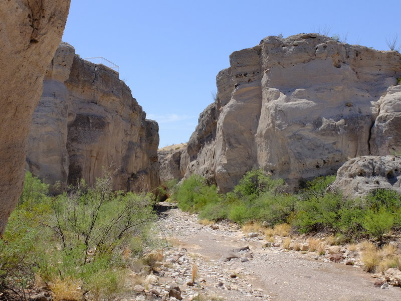 "Tuff Canyon with the volcanic ash ""tuff"" walls."