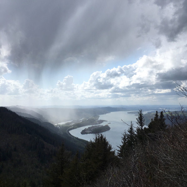 Angel's Rest with rain coming in.