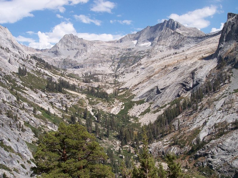 This is the view south along Lone Pine Creek. The Elizabeth Pass climb awaits in the other direction.